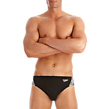 Buy Speedo Monogram 7cm Swim Briefs, Black/White Online at johnlewis.com