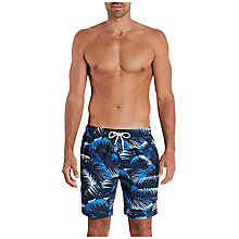 "Buy Speedo Printed Leisure 18"" Watershort Swim Shorts, Black/Baja Blue Online at johnlewis.com"