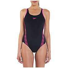 Buy Speedo Monogram Muscleback Swimsuit, Black/Ecstatic Online at johnlewis.com
