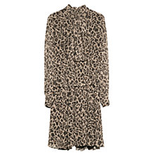 Buy Mango Leopard Print Chiffon Dress, Light Beige Online at johnlewis.com