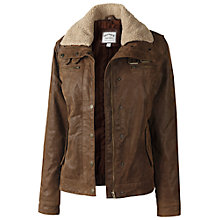 Buy Fat Face Barcombe Leather Jacket, Chocolate Online at johnlewis.com