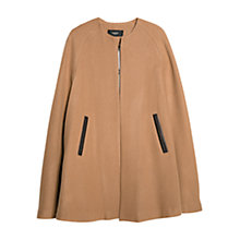 Buy Mango Trimmed Wool-Blend Cape, Dark Brown Online at johnlewis.com