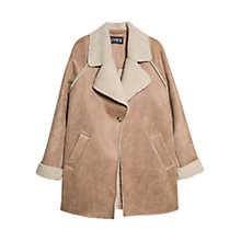 Buy Mango Shearling-Lined Coat, Dark Brown Online at johnlewis.com