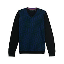 Buy Ted Baker Nubel Merino V-Neck Jumper, Black/Blue Online at johnlewis.com
