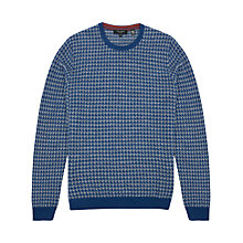 Buy Ted Baker Humbie Dogtooth Pattern Jumper, Dark Blue Online at johnlewis.com