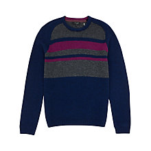 Buy Ted Baker Rowhook Crew Neck Jumper, Navy/Grey Online at johnlewis.com