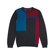Buy Ted Baker Blokcru Colour Block Merino Jumper, Charcoal Online at johnlewis.com