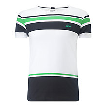 Buy Armani Jeans Crew Neck Stripe T-Shirt, White/Blue Online at johnlewis.com