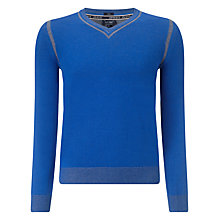 Buy Armani Jeans V-Neck Cotton Jumper, Blue Online at johnlewis.com