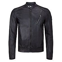 Buy Belstaff K Racer Lambskin Leather Jacket, Black Online at johnlewis.com