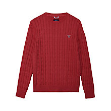 Buy Gant Cable Knit Crew Neck Cotton Jumper, Red Melange Online at johnlewis.com