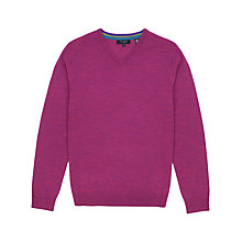 Buy Ted Baker Babel Merino Wool V-Neck Jumper, Pink Online at johnlewis.com