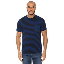 Buy Original Penguin Striped Patch Pocket T-Shirt, Dark Blue Online at johnlewis.com