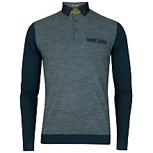 Buy Ted Baker Minya Jacquard Front Long Sleeve Polo Shirt, Navy Online at johnlewis.com