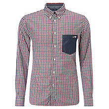 Buy Armani Jeans Yarn Dyed Check and Stripe Long Sleeve Shirt, Navy/Red Online at johnlewis.com