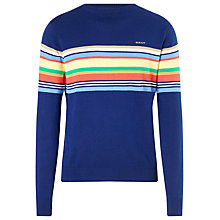 Buy Gant Striped Crew Neck Cotton Jumper, Indigo Blue Online at johnlewis.com