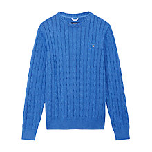 Buy Gant Cable Knit Crew Neck Cotton Jumper Online at johnlewis.com