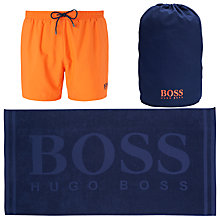 Buy BOSS Swim Shorts and Towel Beach Set, Blue/Orange Online at johnlewis.com