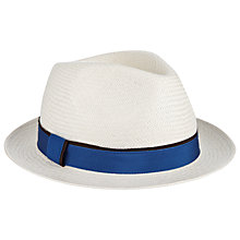Buy Christys' Cuenca Snap Brim Panama Trilby Hat, White/Blue Online at johnlewis.com