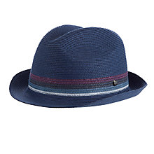 Buy Ted Baker Dubanke Straw Effect Trilby Hat, Navy Online at johnlewis.com