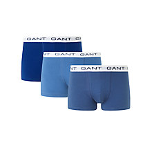 Buy Gant Solid Trunks, Pack of 3, Blue Online at johnlewis.com