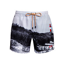 Buy BOSS Springfish Printed Swim Shorts, Grey Online at johnlewis.com