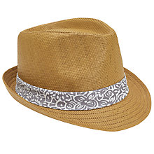 Buy Ted Baker Denord Printed Trim Trilby Hat, Natural Online at johnlewis.com