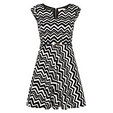 Buy Louche Chevron Belted Dress, Black/Cream Online at johnlewis.com