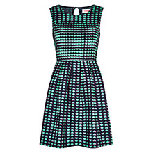 Buy Louche Heart Print Flared Dress, Navy/Green Online at johnlewis.com