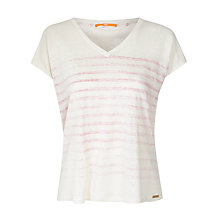 Buy BOSS Orange V-neck Linen T-shirt, Medium Pink Online at johnlewis.com