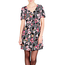 Buy Louche V-Neck Floral Print Dress, Black/White Online at johnlewis.com