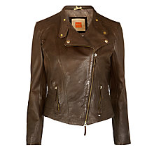 Buy BOSS Orange Jaresi Leather Jacket, Brown Online at johnlewis.com
