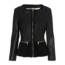 Buy Marella Leather Peplum Jacket, Black Online at johnlewis.com