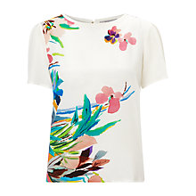Buy Marella Floral Silk Front T-shirt, White Online at johnlewis.com