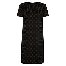 Buy Hobbs Flocked Spot Dress, Black Chocolate Online at johnlewis.com