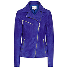 Buy Reiss Mick Suede Leather Jacket, Blue Passion Online at johnlewis.com