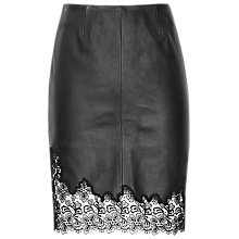 Buy Reiss Lana Leather Skirt, Black Online at johnlewis.com