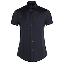 Buy Armani Jeans Stretch Poplin Cotton Shirt, Navy Online at johnlewis.com