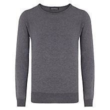 Buy John Smedley Luke Cotton Crew Neck Jumper, Charcoal Online at johnlewis.com