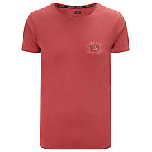 Buy Armani Jeans Crew Neck Badge Logo T-Shirt, Red Online at johnlewis.com