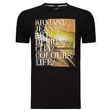 Buy Armani Jeans Screen Print Art T-Shirt, Black Online at johnlewis.com