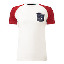 Buy Armani Jeans Slim Fit Contrast Sleeve T-Shirt, White Online at johnlewis.com