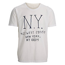 Buy Selected Homme Melrose Printed T-Shirt, Bright White Online at johnlewis.com
