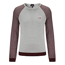 Buy Armani Jeans Bicolore Crew Neck Jumper, Grey/Burgundy Online at johnlewis.com