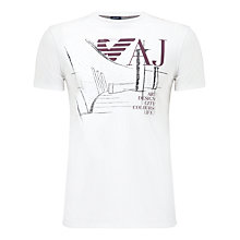 Buy Armani Jeans Graphic Logo T-Shirt, White Online at johnlewis.com