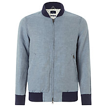 Buy Gant Chambray Bomber Jacket, Blue Online at johnlewis.com