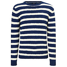 Buy Gant Breton Stripe Cotton Jumper, Indigo Blue Online at johnlewis.com