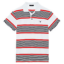 Buy Gant Rolled Sleeve Striped Polo Shirt, White/Black/Red Online at johnlewis.com