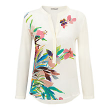 Buy Marella Partita Silk Bloom Print Blouse, White Online at johnlewis.com