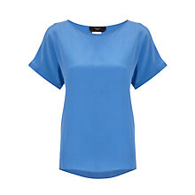 Buy Weekend by MaxMara Short Sleeve Silk Top, Cornflower Blue/Navy Online at johnlewis.com